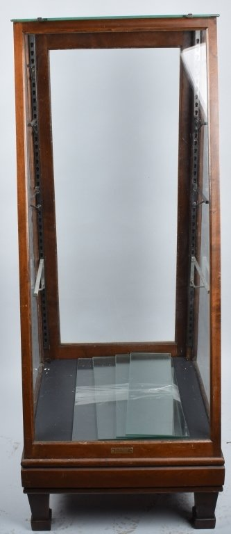 ANTIQUE COLUMBUS SLANT FRONT OAK SHOW CASE