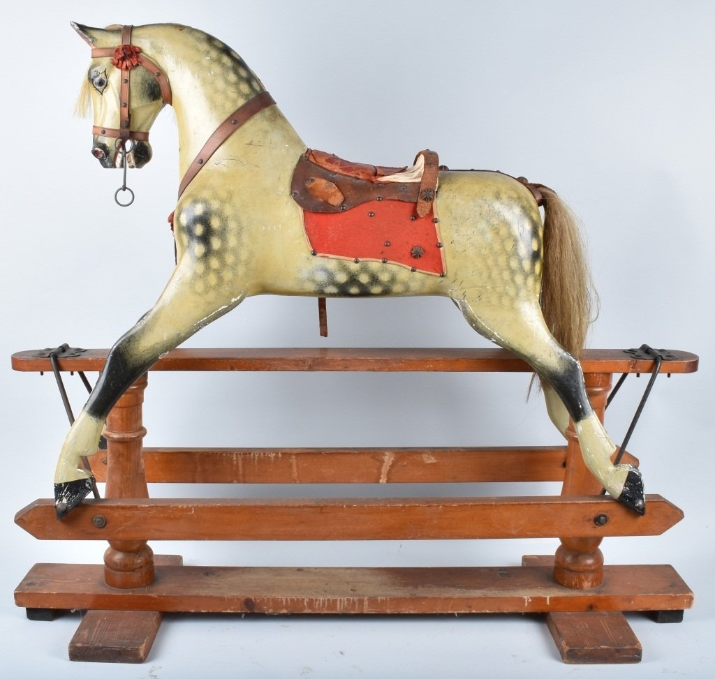 VICTORIAN OVERSIZED TOY HORSE on FRAME