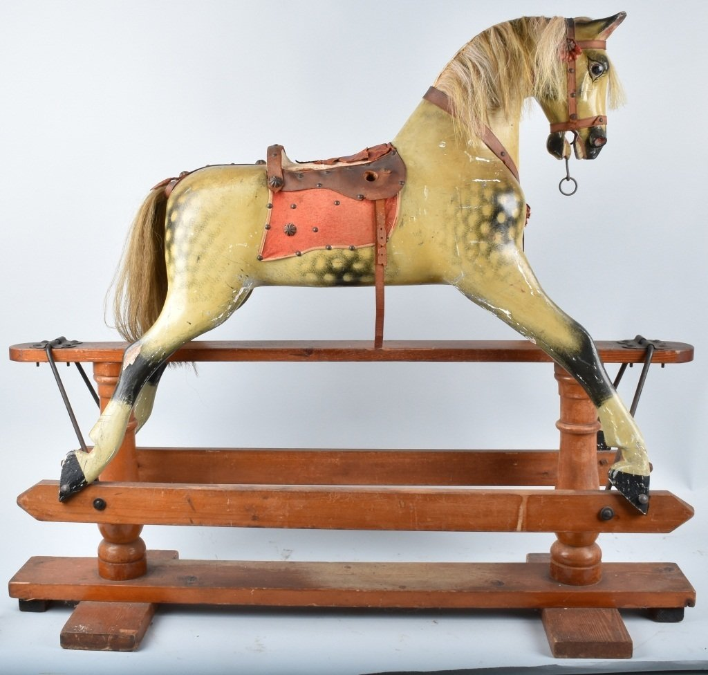 VICTORIAN OVERSIZED TOY HORSE on FRAME - 7