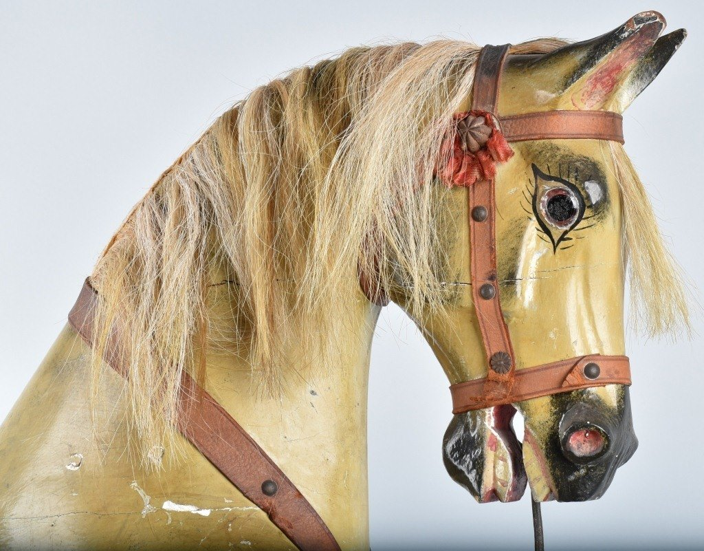 VICTORIAN OVERSIZED TOY HORSE on FRAME - 8