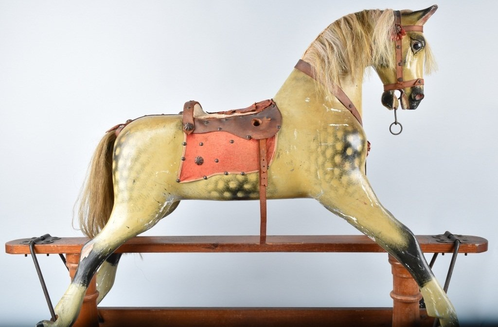VICTORIAN OVERSIZED TOY HORSE on FRAME - 9