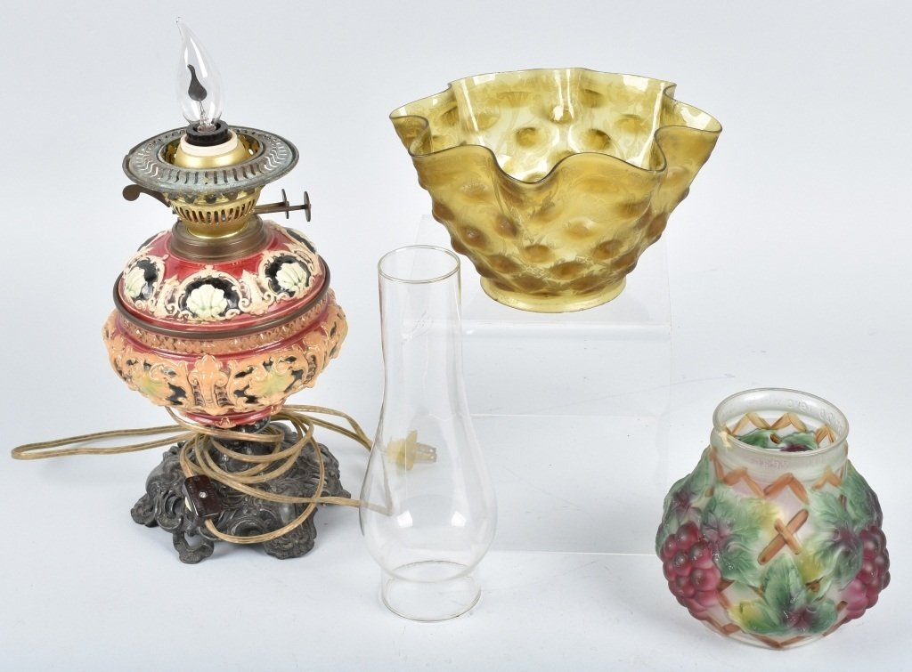 VINTAGE OIL LAMP, SHADES and MORE