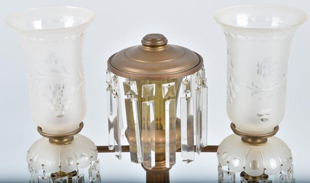 VINTAGE ORNATE ELECTRIC DOUBLE  LAMP / PRISMS - 2