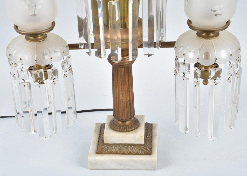 VINTAGE ORNATE ELECTRIC DOUBLE  LAMP / PRISMS - 3