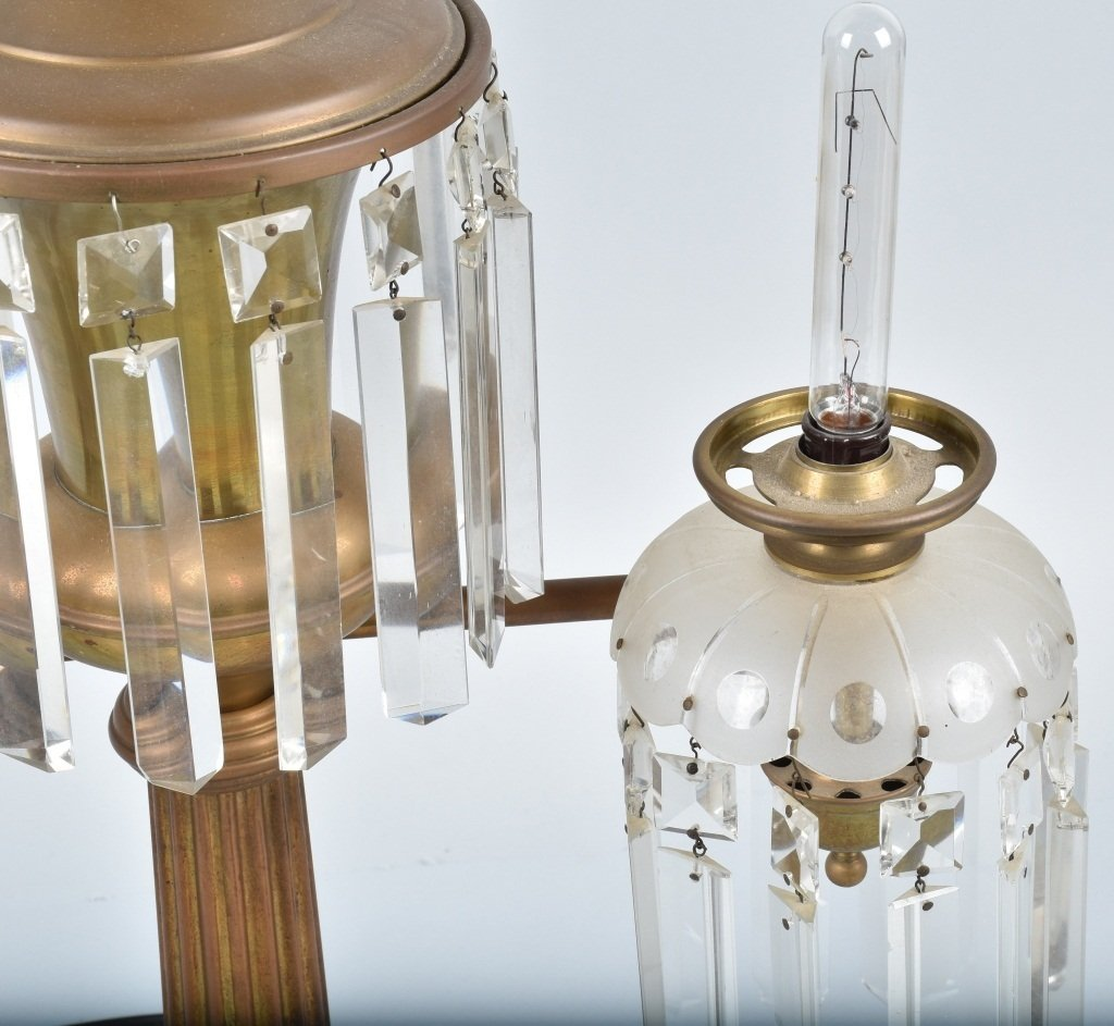 VINTAGE ORNATE ELECTRIC DOUBLE  LAMP / PRISMS - 4