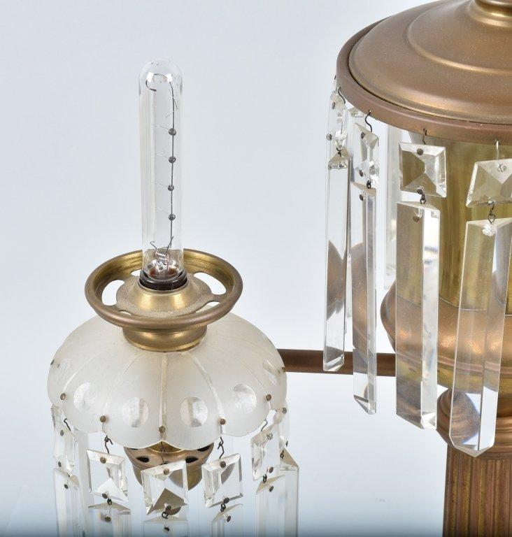 VINTAGE ORNATE ELECTRIC DOUBLE  LAMP / PRISMS - 5