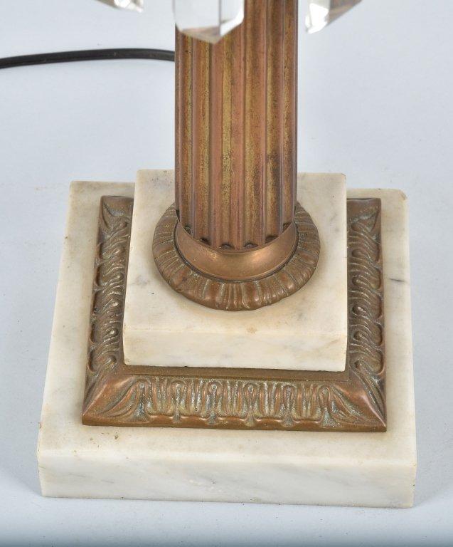 VINTAGE ORNATE ELECTRIC DOUBLE  LAMP / PRISMS - 7