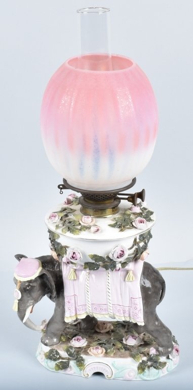 CERAMIC ELEPHANT LAMP with PINK OPALESCENT SHADE