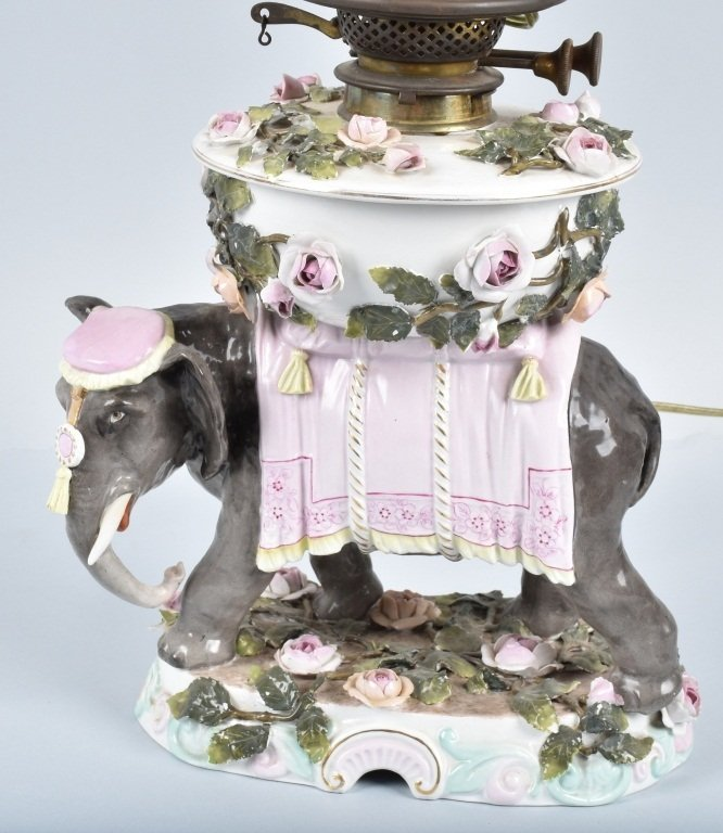 CERAMIC ELEPHANT LAMP with PINK OPALESCENT SHADE - 2