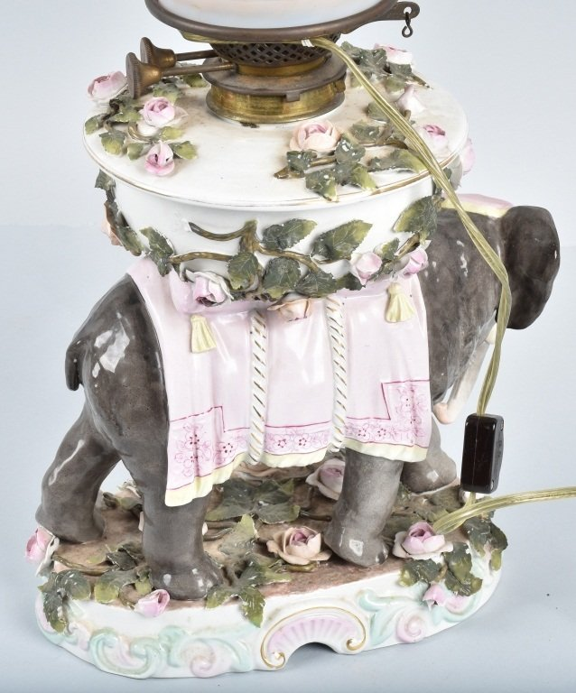 CERAMIC ELEPHANT LAMP with PINK OPALESCENT SHADE - 5