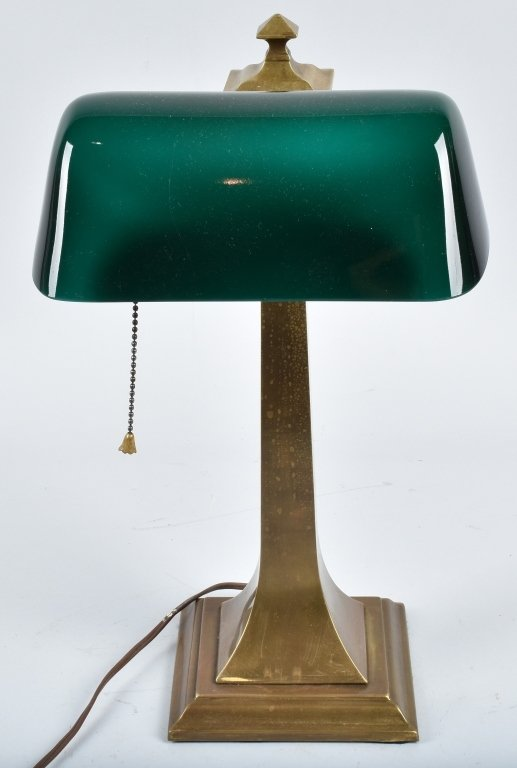 VERDELITE BRASS DESK LAMP, VINTAGE