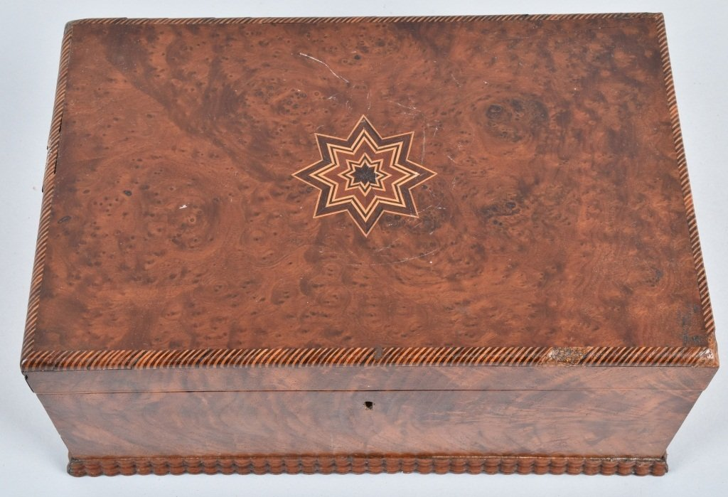 ANTIQUE BURLED BOX, with INLAY - 4