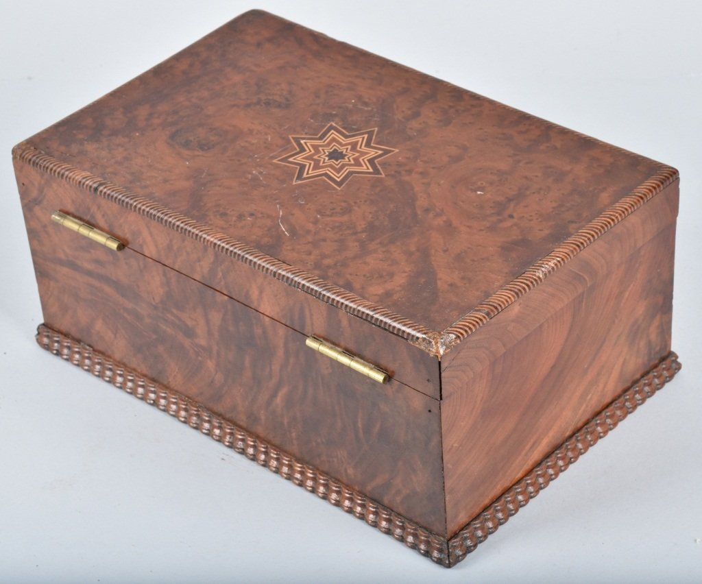 ANTIQUE BURLED BOX, with INLAY - 5