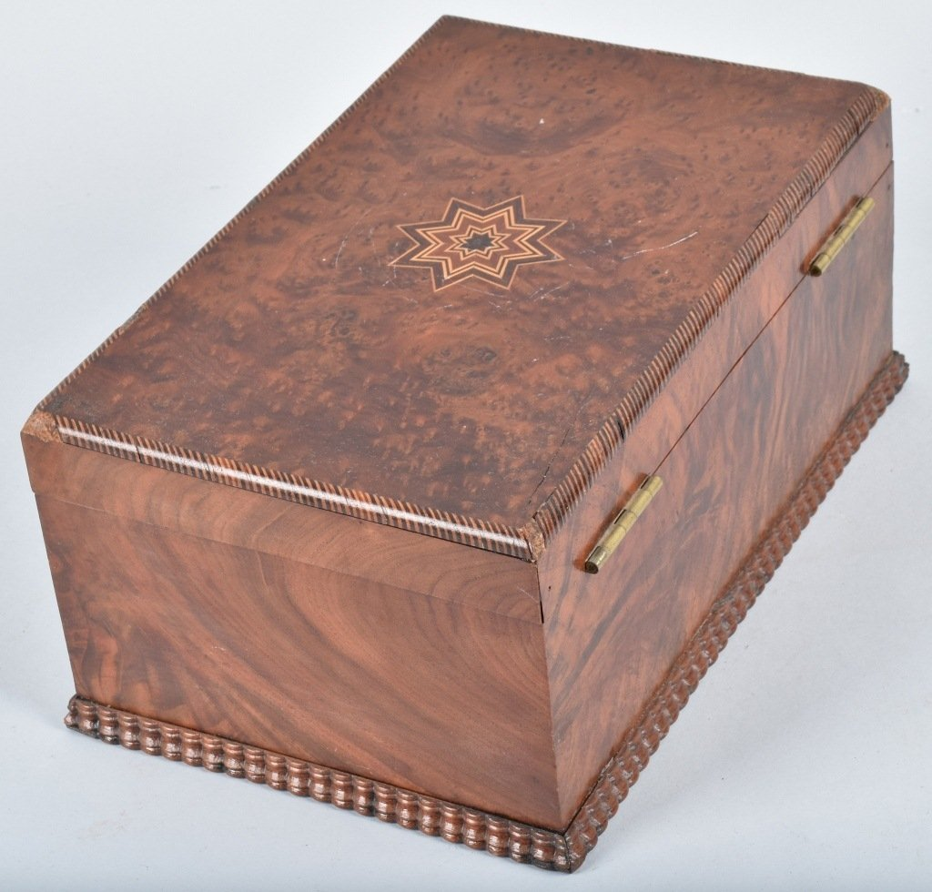 ANTIQUE BURLED BOX, with INLAY - 6