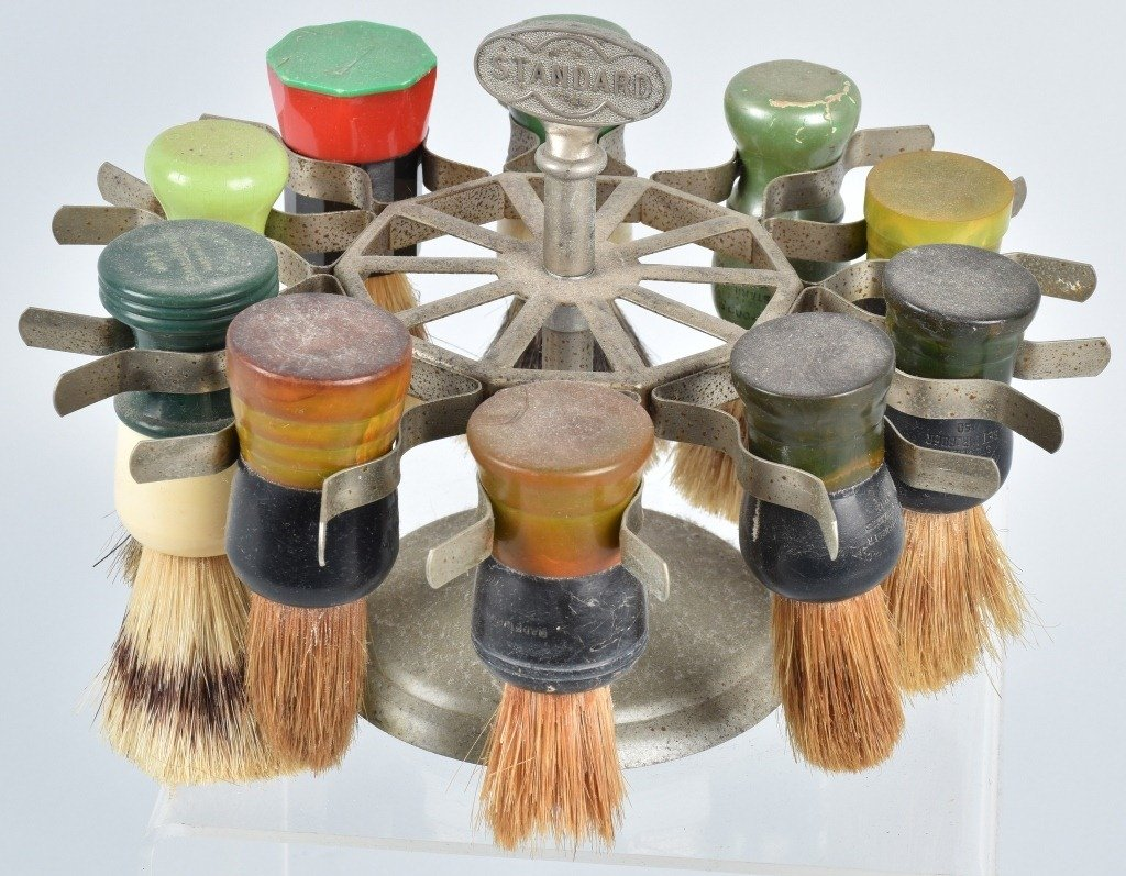 STANDARD BARBER SHAVING BRUSH HOLDER w/ BRUSHES - 2