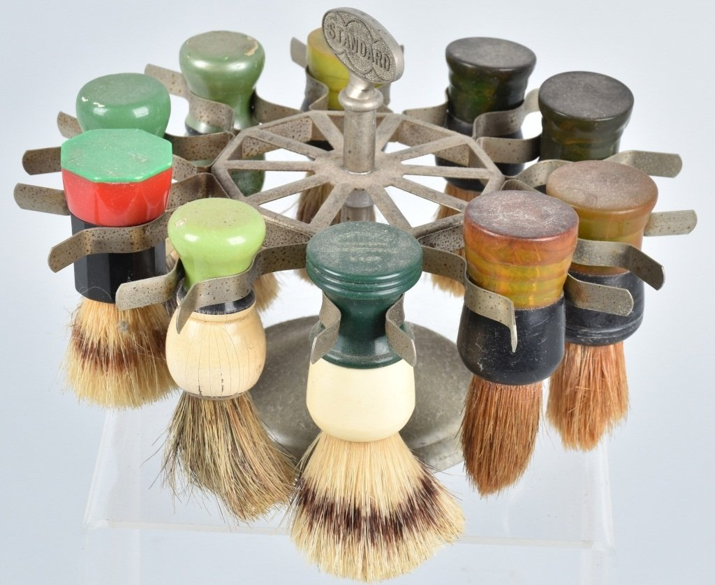 STANDARD BARBER SHAVING BRUSH HOLDER w/ BRUSHES - 3