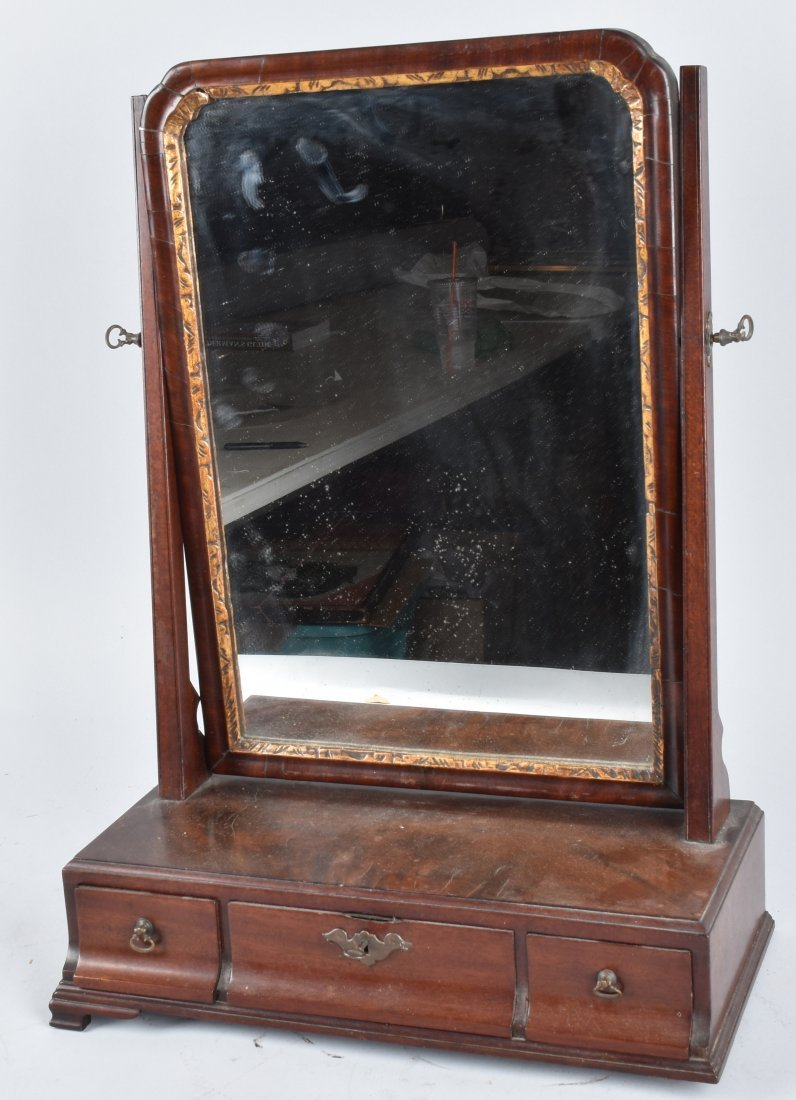 ANTIQUE SHAVING MIRROR WITH DRAWERS