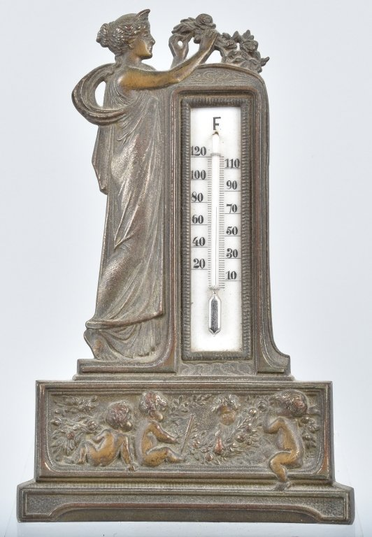 CAST BRASS FIGURAL THERMOMETER, VINTAGE