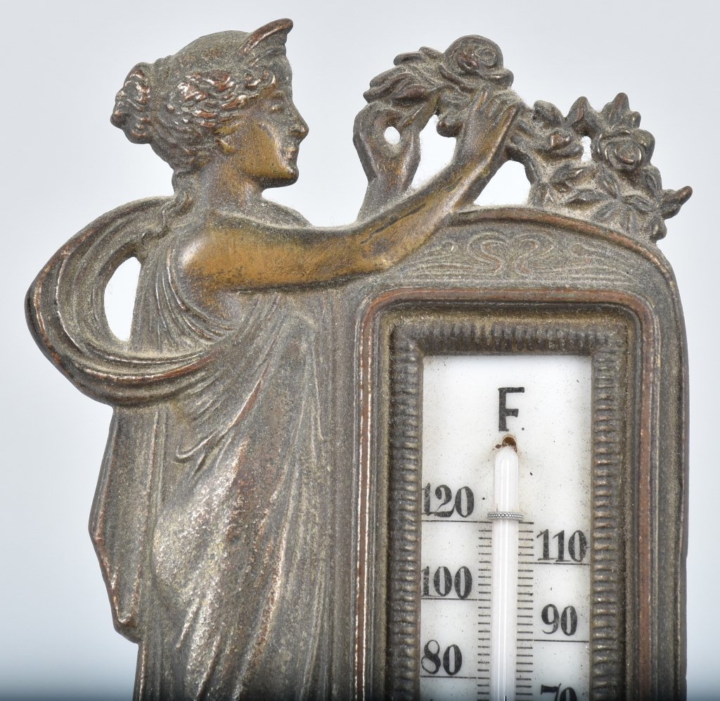 CAST BRASS FIGURAL THERMOMETER, VINTAGE - 2