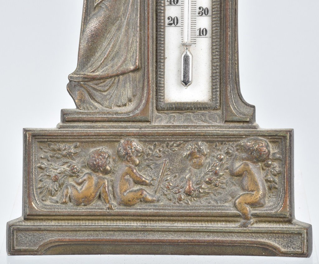 CAST BRASS FIGURAL THERMOMETER, VINTAGE - 3
