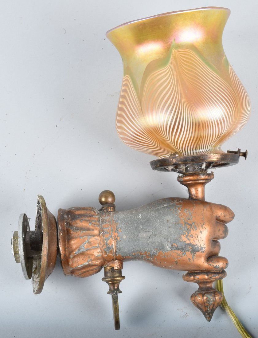 FIGURAL HAND WALL SCONCE LAMP with QUEZEL SHADE - 6