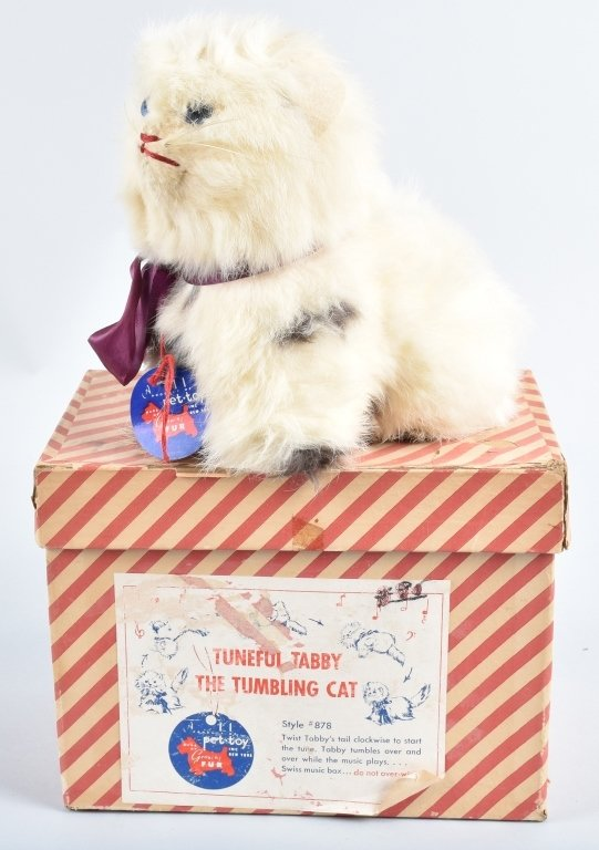 TUNEFUL TABBY WINDUP ROLLOVER CAT, BOXED