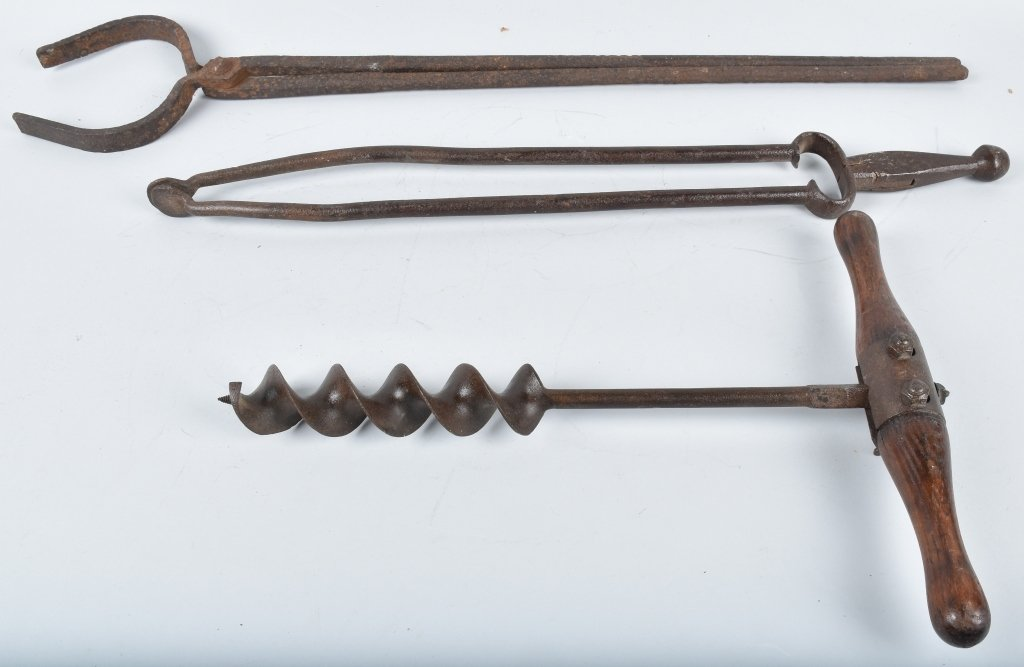 3-ANTIQUE TOOLS, TONGS and AUGER