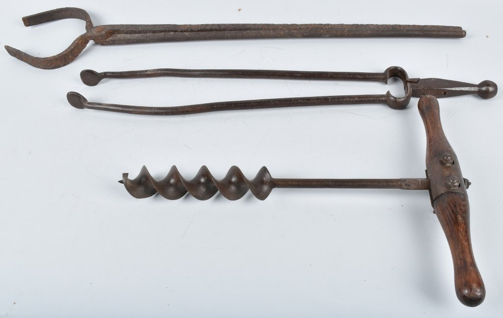 3-ANTIQUE TOOLS, TONGS and AUGER - 2