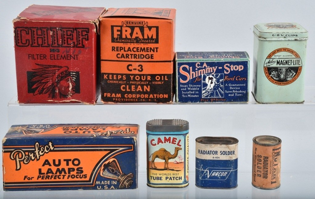 Lot of VINTAGE CAR FILTERS, LAMPS, TIRE KIT & MORE