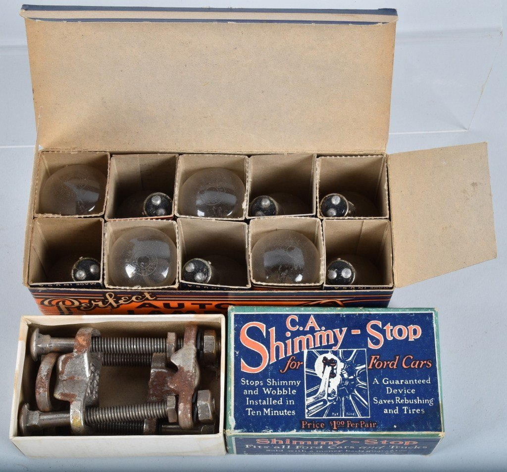 Lot of VINTAGE CAR FILTERS, LAMPS, TIRE KIT & MORE - 4