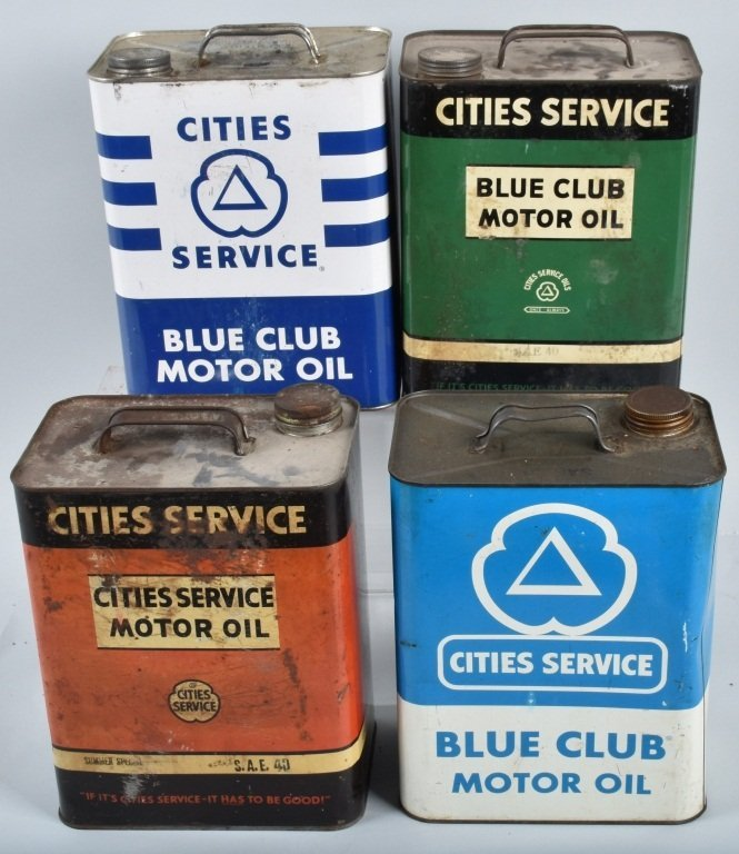 4- VINTAGE CITIES SERVICE 2 GAL OIL CANS
