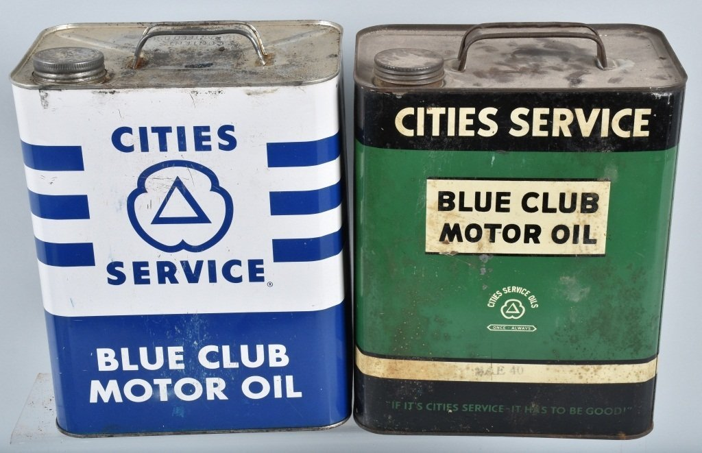 4- VINTAGE CITIES SERVICE 2 GAL OIL CANS - 2