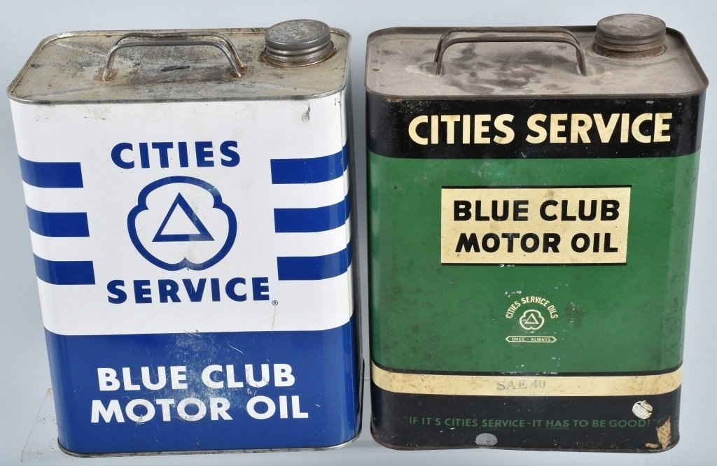 4- VINTAGE CITIES SERVICE 2 GAL OIL CANS - 3