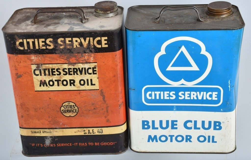 4- VINTAGE CITIES SERVICE 2 GAL OIL CANS - 4