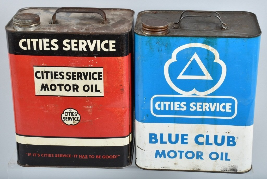 4- VINTAGE CITIES SERVICE 2 GAL OIL CANS - 5