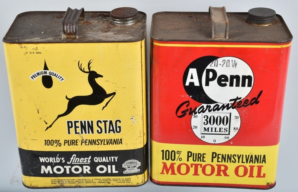4- VINTAGE 2 GAL OIL CANS from Pennsylvainia - 2