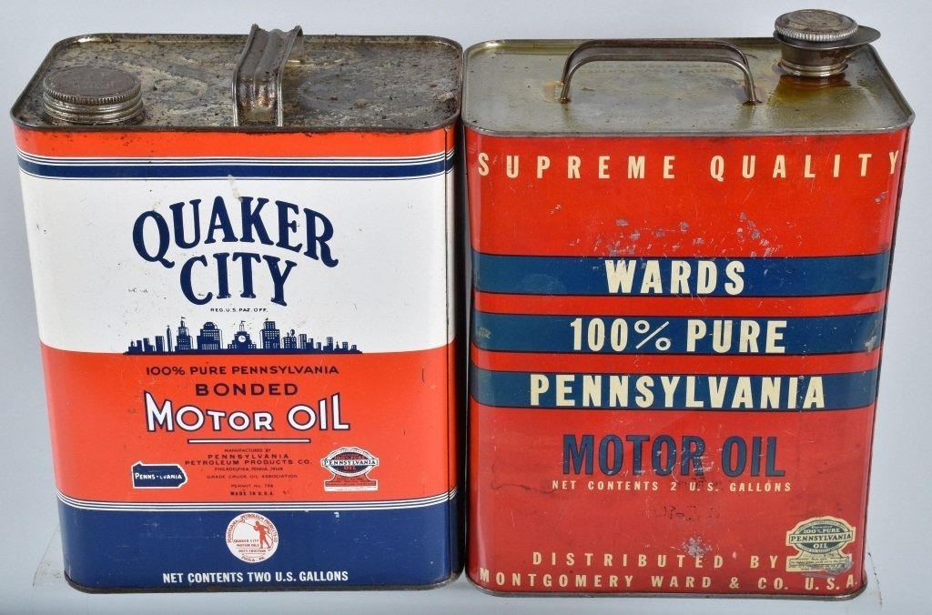4- VINTAGE 2 GAL OIL CANS from Pennsylvainia - 4