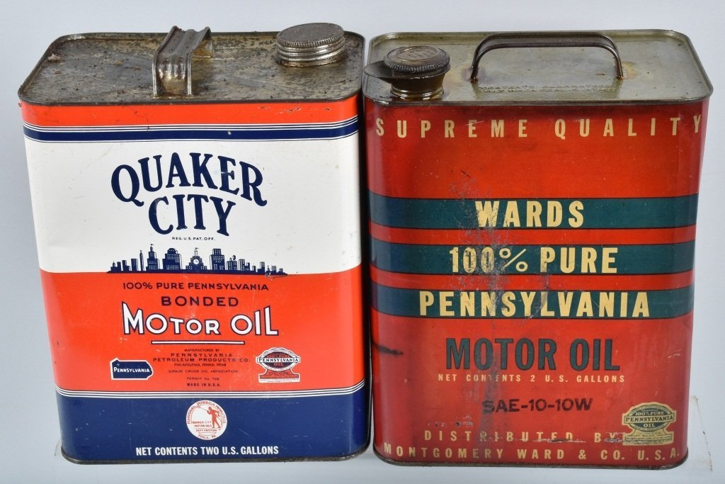 4- VINTAGE 2 GAL OIL CANS from Pennsylvainia - 5