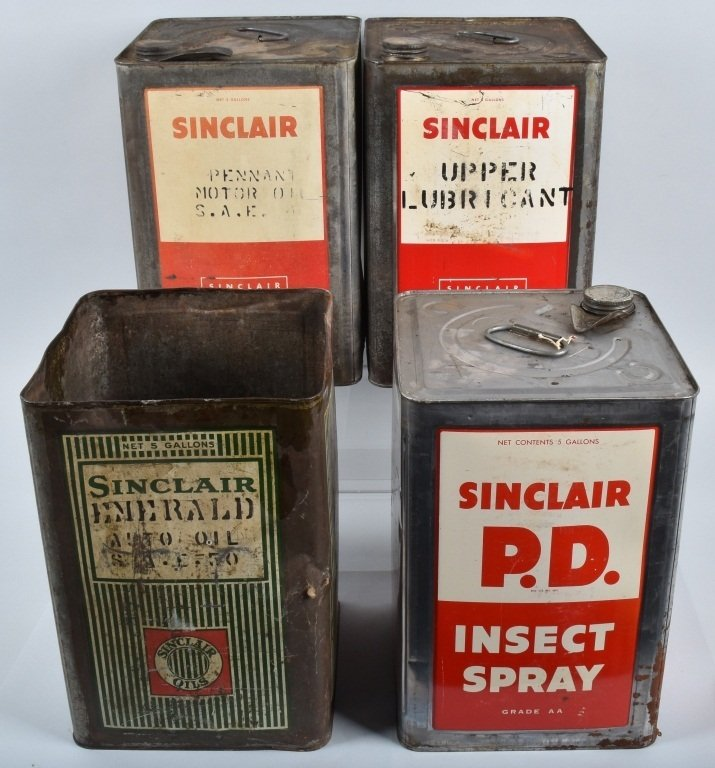 4- 5 Gallon VINTAGE SINCLAIR OIL & OTHER CANS