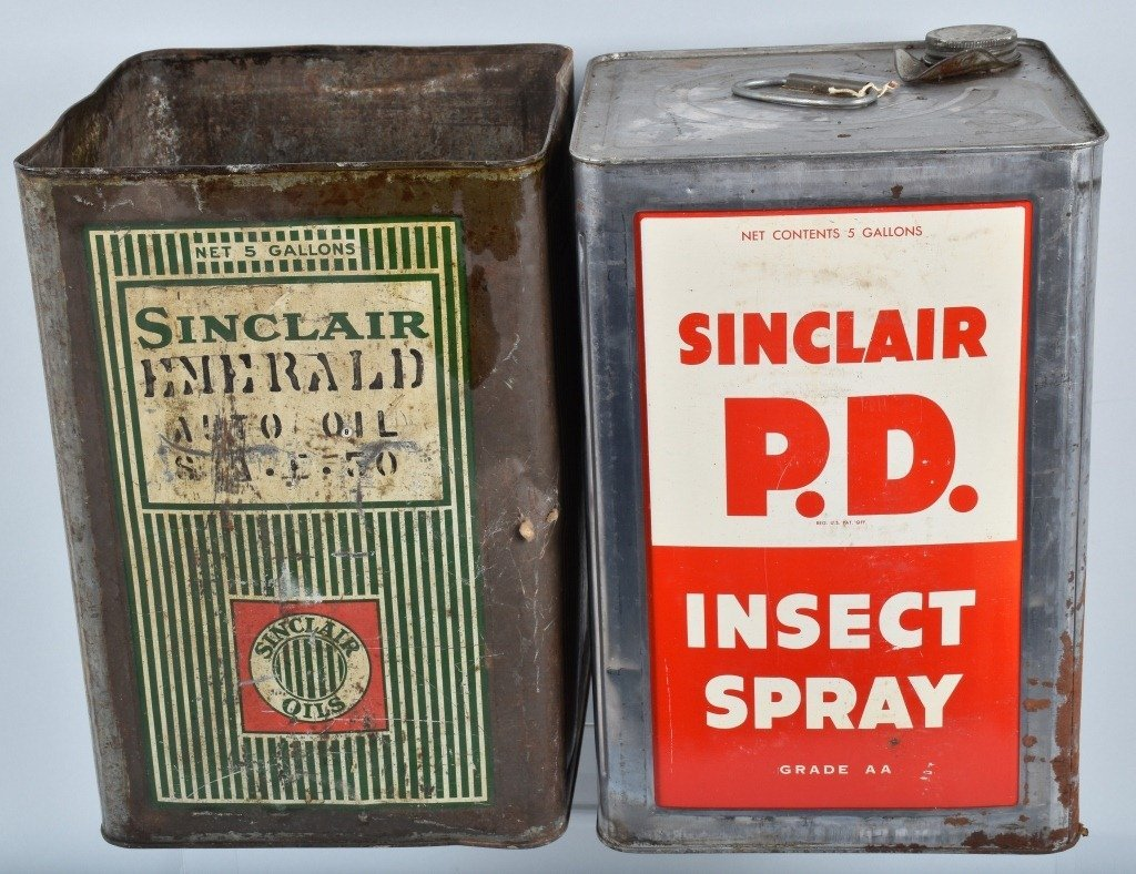 4- 5 Gallon VINTAGE SINCLAIR OIL & OTHER CANS - 4