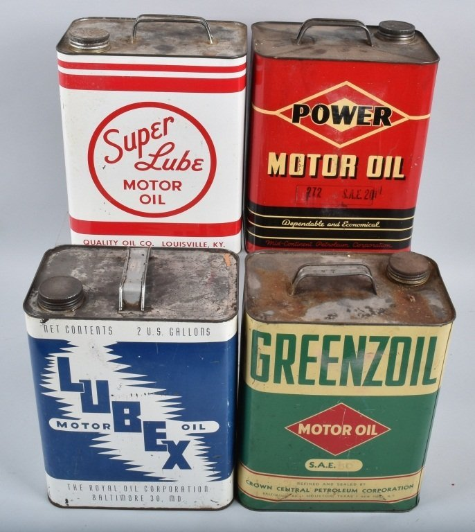 4-VINTAGE 2 GAL OIL CANS GREENZOIL, POWER, & MORE