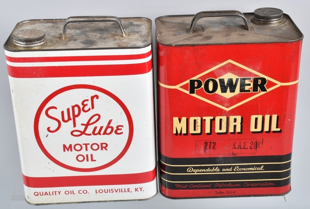 4-VINTAGE 2 GAL OIL CANS GREENZOIL, POWER, & MORE - 2