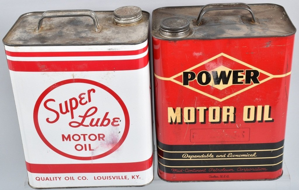 4-VINTAGE 2 GAL OIL CANS GREENZOIL, POWER, & MORE - 3