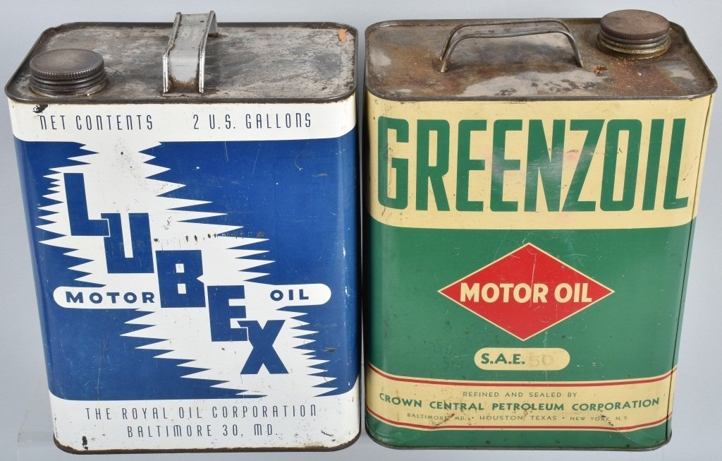 4-VINTAGE 2 GAL OIL CANS GREENZOIL, POWER, & MORE - 4