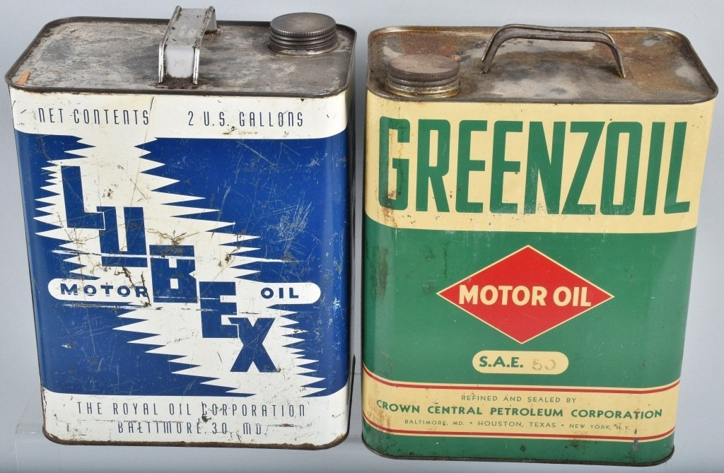 4-VINTAGE 2 GAL OIL CANS GREENZOIL, POWER, & MORE - 5
