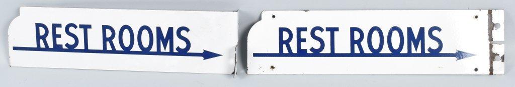 2- VINTAGE RESTROOM PORCELAIN FLANGE SIGNS