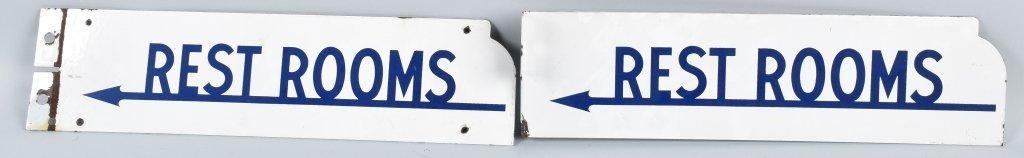 2- VINTAGE RESTROOM PORCELAIN FLANGE SIGNS - 3