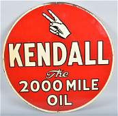 KENDALL 2000 MILE OIL ROUND DS TIN SIGN