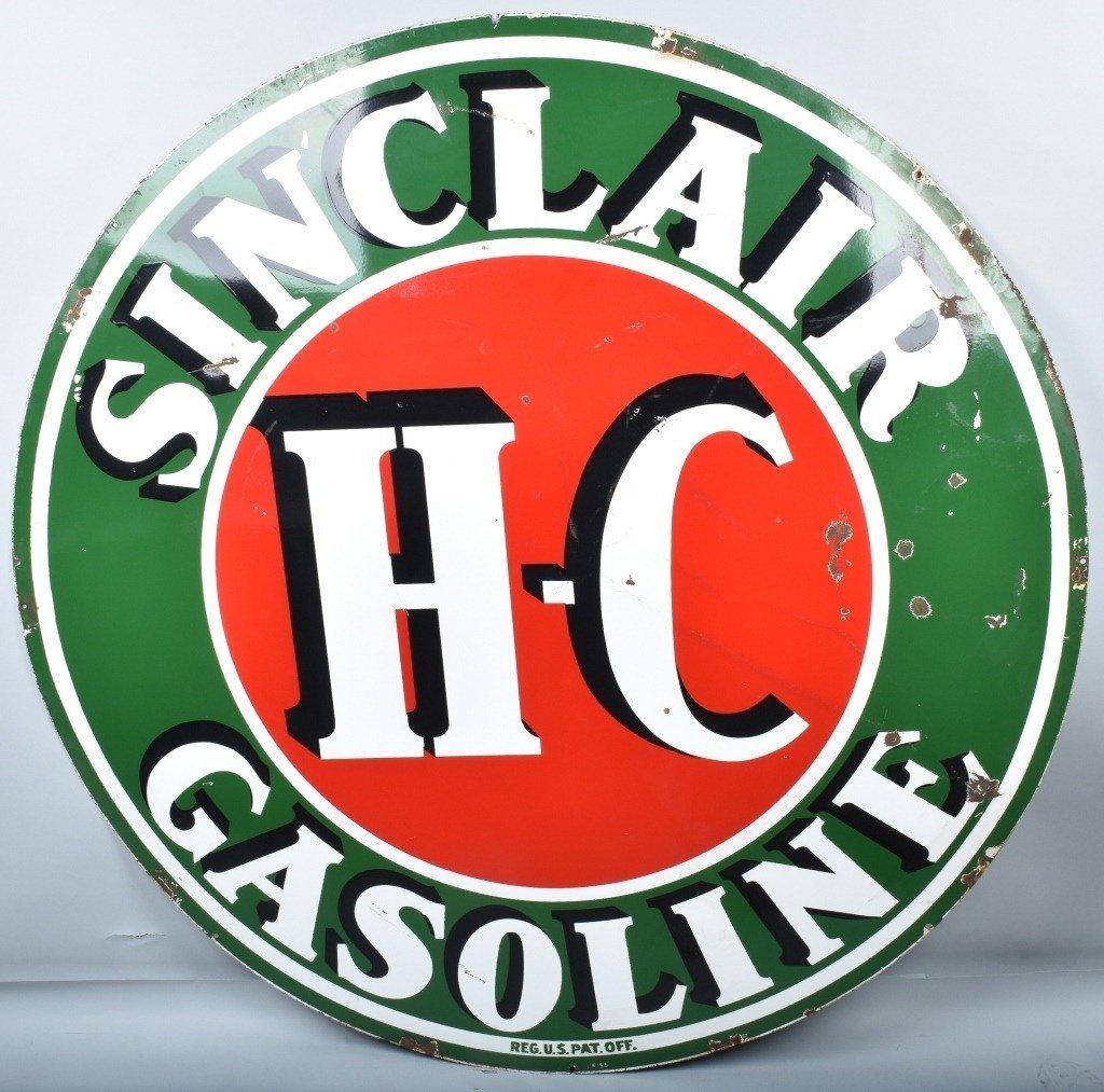 """72"""" SINCLAIR HC GASOLINE DS PORCELAIN SIGN"""