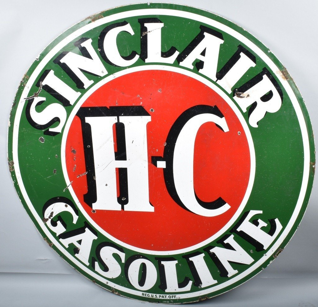 """72"""" SINCLAIR HC GASOLINE DS PORCELAIN SIGN - 5"""